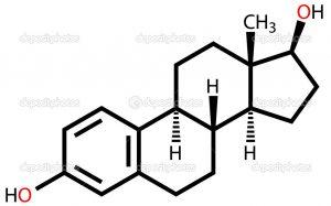 Sex hormone estradiol structural formula on a white background